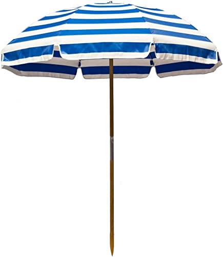 6.5' Shade Star Beach Umbrella Color: Pacific Blue/White Stripe