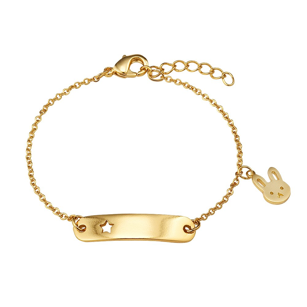 Children Earrings by Lovearing 14k Gold Plated Brass Baby Rabbit Star ID Rolo Link Chain Girls 6 Adjustable Tag Bracelet BB3195