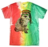 Chemistry Men's Kitty Cat Rastafarian in Sunglasses Graphic T-Shirt - X-Large