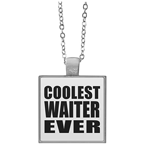 Amazon Designsify Coolest Waiter Ever Square Necklace Silver