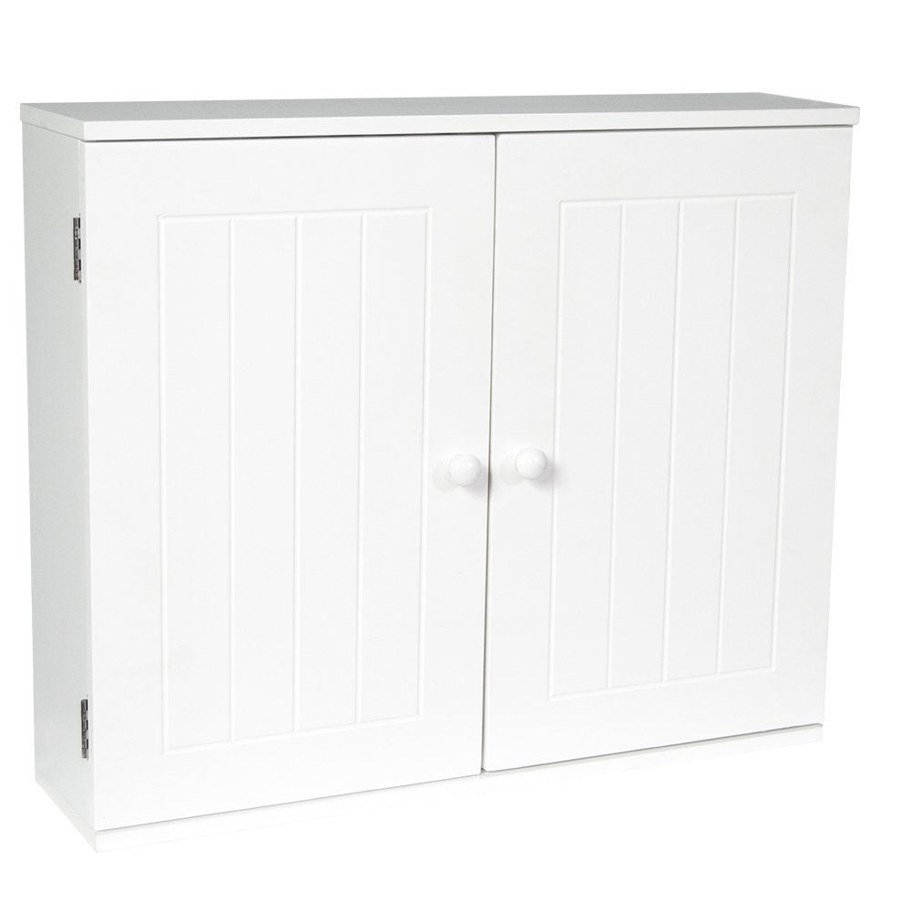 Bath Vida Double Door Shutter Wall Mounted Bathroom Cabinet, Wood, White Lassic 333377