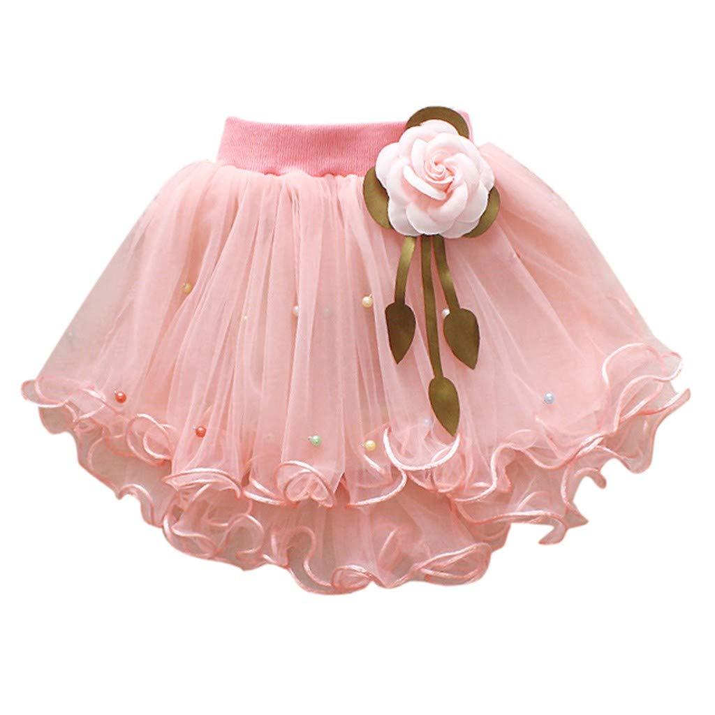 WUAI Baby Girls Tutu Skirts Layered Tulle Birthday Princess Dance Party Floral Dresses (Pink,2-3 Years)