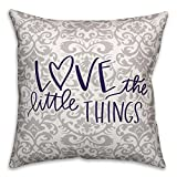 Designs Direct ''Love the Little Things'' Square Throw Pillow in Purple/Grey