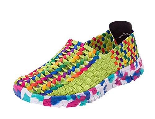 VECJUNIA Ladies Woven Water Shoes Lightweight Elastic Sport Slip-On Fitness Work Out Beach Sneaker Green ovaqD
