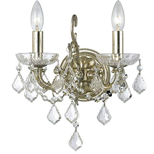 Crystorama 5282-OS-CL-MWP Transitional Two Light Wall Sconce from Highland Park collection in Pwt, Nckl, B/S, ()