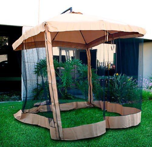offset umbrella mesh tan
