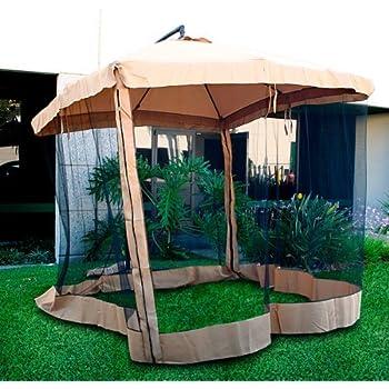 Amazon Com Offset Umbrella Mesh Tan Garden Amp Outdoor