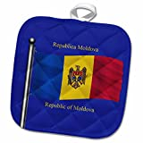 3dRose 777images Flags and Maps - The flag of Moldova on a blue background with Republic of Moldova in English and Moldovan Romanian - 8x8 Potholder (phl_63183_1)