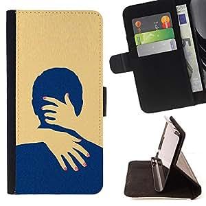 "For Motorola Moto E ( 2nd Generation ),S-type Amarillo Amor minimalista Limpio"" - Dibujo PU billetera de cuero Funda Case Caso de la piel de la bolsa protectora"