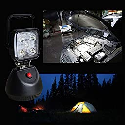 PA 15W 1800lm Portable Rechargeable LED Work Light for Car Inspection Repair Outdoor Lighting SUV Off-Road Trucks Boats Jeep RZR Tractor Garage, Camping Light