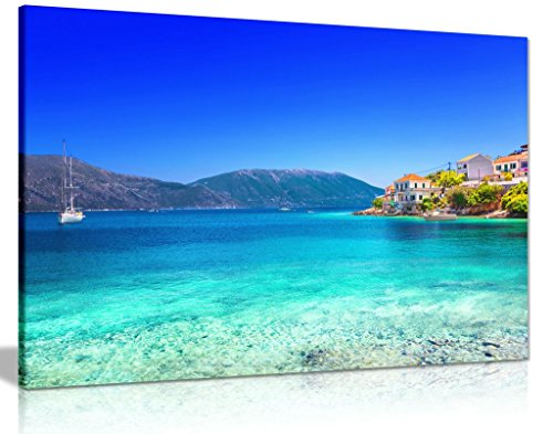 Blue Beach Sea Nature Kefalonia Island Greece Canvas Wall Art Picture Print ()