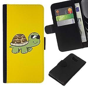 A-type (Enfriar gafas de sol de la tortuga) Colorida Impresión Funda Cuero Monedero Caja Bolsa Cubierta Caja Piel Card Slots Para Samsung ALPHA G850