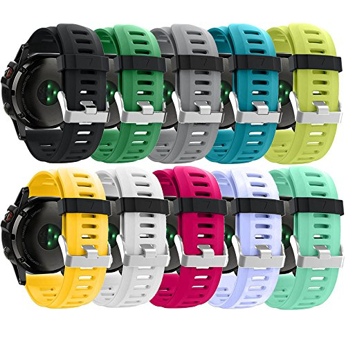 ZSZCXD Band for Garmin Fenix 3 / Fenix 3 HR, Soft Silicone Wristband Replacement Watch Band for Garmin Fenix 3 / Fenix 3 HR Smart Watch (10Pcs)