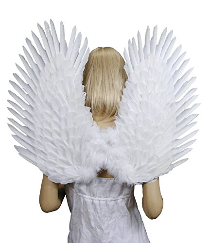 Wings Up (FashionWings (TM) White Duo Use Costume Feather Angel Wings Pointing up or Down)