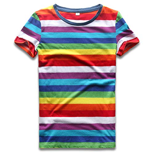 Rainbow T Shirt Women Striped Crew Neck Short Sleeve Stripes Tee Top Stripped L ()
