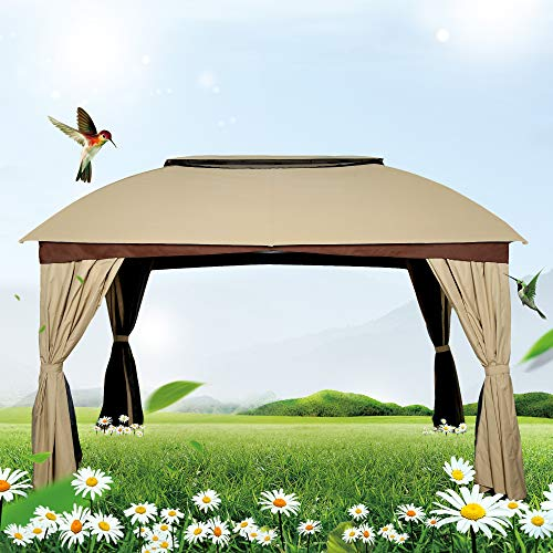 Gazebo Tiered Roof - FurniTure Patio Gazebo Mosquito Net Side Wall Metal Garden Backyard Tent Patio BBQ 2 Tiered Canopy Gazebo Vented Double Roof Polyester Fabric, Sand
