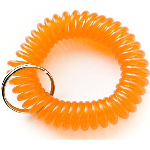 100pcs Orange Color Soft High Quality Spring Spiral Coil Elastic Wrist Band Key Ring Chain