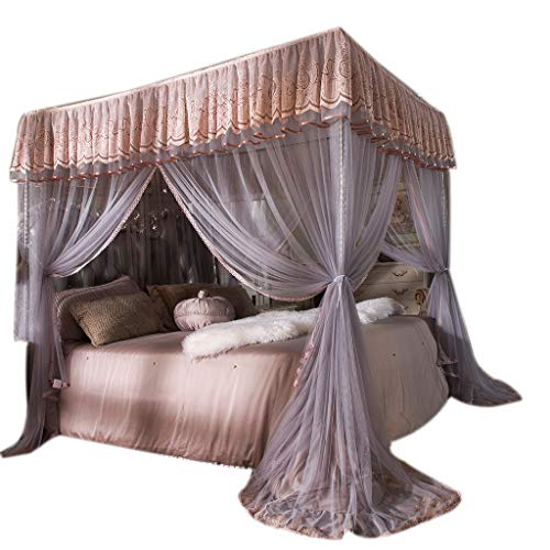 Obokidly Mosquito-Proof America Village 4 Corner Bed Thinken Encryption Mosquito Netting;Anti-mite Bedding Curtains for Baby Girls Kids Bedroom Dectors Drapes Canopies (Grey, Queen)