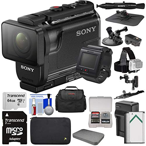 Sony Action Cam HDR-AS50R Wi-Fi HD Video Camera Camcorder & Live View Remote with 64GB Card + Battery & Charger + Cases + Helmet, Suction Cup & Dashboard Mounts + Kit