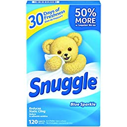 Snuggle Fabric Softener Sheets (Blue Sparkle, 120-Count, Case of 6)