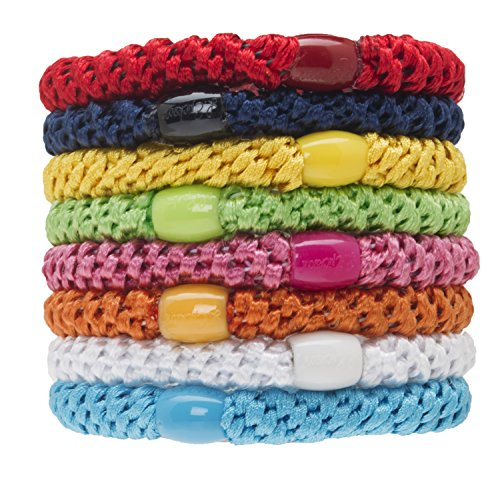 Bold Woven Bracelet - L. Erickson Grab & Go Ponytail Holders, Resort, Set of Eight - Exceptionally Secure with Gentle Hold