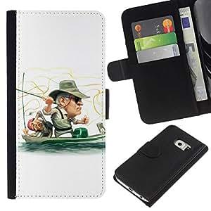 All Phone Most Case / Oferta Especial Cáscara Funda de cuero Monedero Cubierta de proteccion Caso / Wallet Case for Samsung Galaxy S6 EDGE // Funny Fisherman