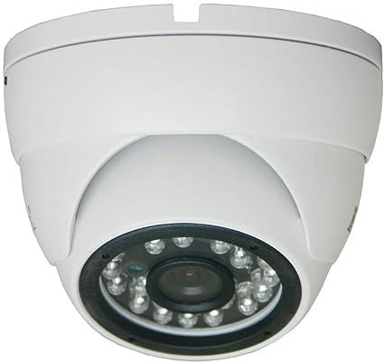 COP Security CIR-BA44FB 3-Axis IR Color CCD Dome Camera, White,
