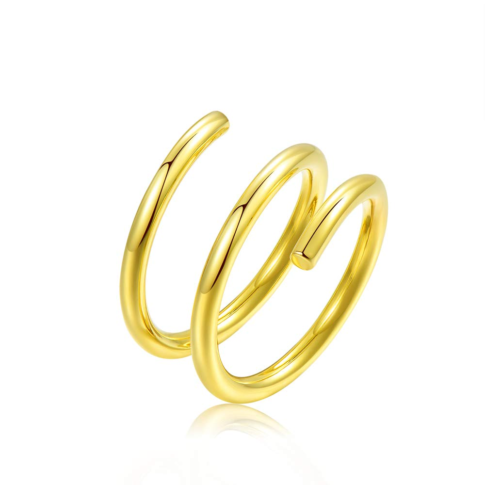 espere Spring Ring Thick Statement Gold Rings Size 6
