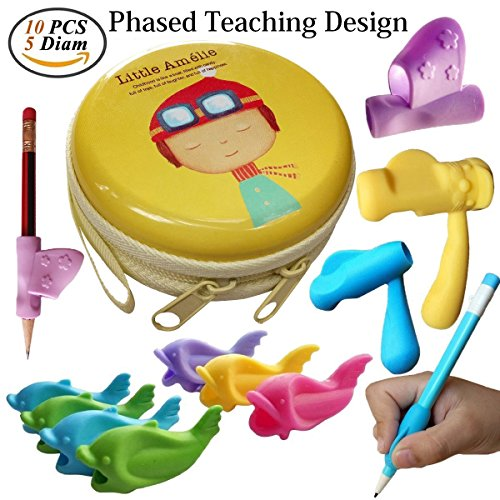 Pencil Grips,Tanbt Writing Correction Device Pencil Grips for Kids Handwriting Fish Dolphin Soft Writing Training Grip Holder Pen Claw Aid for Kids Student Kindergarten Writing Corrects Positioning