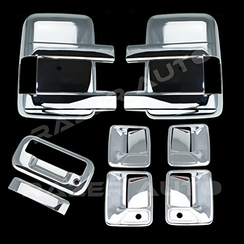 Razer Auto Triple Chrome Plated Mirror, 4 Door Handle with Passenger Keyhole, Tailgate Handle without Camera Hole Cover for 08-15 Ford F250+F350+F450 Super Duty