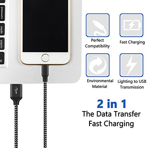 HokoAcc Phone Charger 4Pack 3FT 6FT 6FT 10FT Nylon BraidedPhone Cord Compatible iPhone X 8 7 Plus 6S 6 SE 5S 5C 5, iPad 2 3 4 Mini Air Pro, iPod Nano 7 by HokoAcc (Image #4)