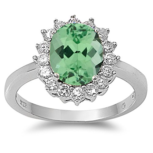 (925 Sterling Silver Faceted Natural Genuine Green Emerald Oval Ring Size 4)