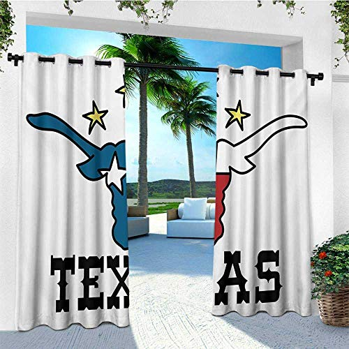 leinuoyi Texas Star, Outdoor Curtain Set of 2 Panels, Doodle Style Buffalo Head with Horns Texas Flag and Vintage Letters Cowboy Theme, for Pergola W120 x L96 Inch Multicolor