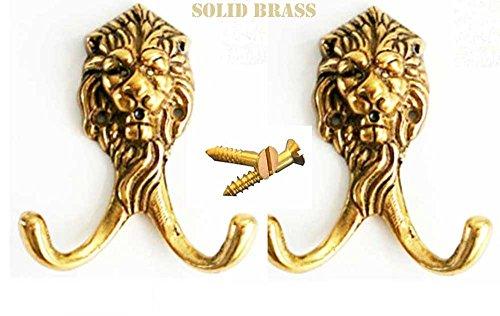 LOT of 2 Brass Lion Head Keys Coat Hook Rack Victorian Hat Hanger Kitchen - Coat Hook Lion