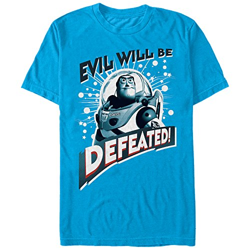 Toy Story Buzz Lightyear Defeat Evil Mens Graphic T Shirt (Toy Story T Shirt)