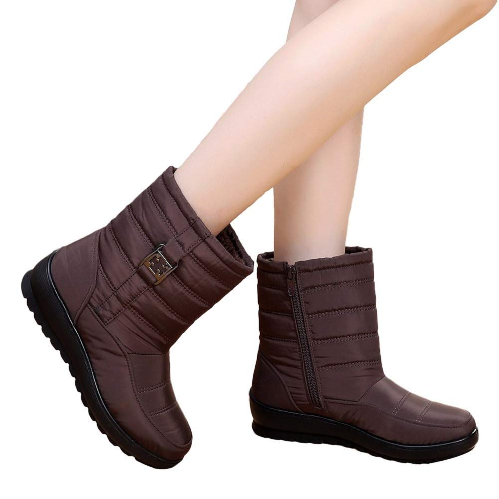 Women Casual Snow Short Shoes Combat Boots Fur Lined Warm Middle-Aged Boots by Lowprofile