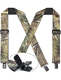 Mens 2 Inch Camo Pattern Suspender X Back Elastic Strong Clips End