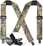 Camo Suspenders for Men & Women Tactical Style 2'' Wide Big & Tall Elastic Adjuastable Clips on X Shape Heavy Duty