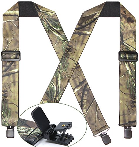 Camo Suspenders for Men & Women Tactical Style 2'' Wide Big & Tall Elastic Adjuastable Clips on X Shape Heavy Duty by Refinemmee