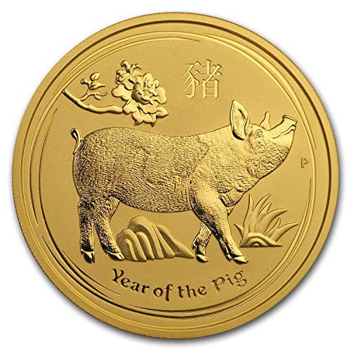 - 2019 AU Australia 2 oz Gold Lunar Pig BU Gold Brilliant Uncirculated