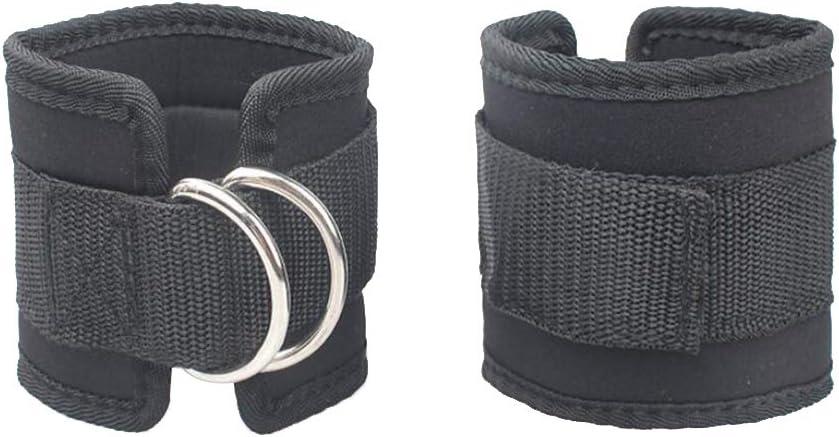 LIOOBO 2pcs Cable m/áquina Correa para el Tobillo Gimnasio Acolchado Correa del Muslo Apoyo de Tobillo de Entrenamiento de Fuerza Ajustable Negro