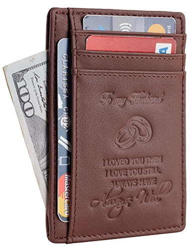 NapaWalli Wife To Husband Gift Best Anniversary Birthday Gifts For Him Genuine Leather RFID Blocking slim Wallet Card Holder (Napa Coffee)