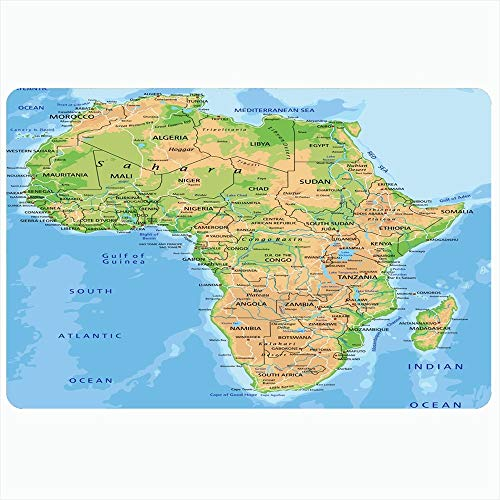 Ahawoso Indoor Bath Rug for Bathroom Non Slip Mats 20x30 Inch African High Detailed Africa Physical Map Labeling Abstract Continent Madagascar South Relief Atlas Bathing Shower Doormat Rubber Mat (Physical Geography Of Africa South Of The Sahara)
