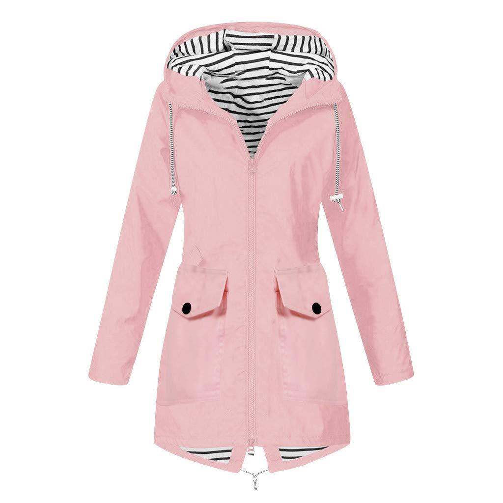 perfectCOCO Women Windbreaker Rain Jacket Raincoat Outdoor Plus Size Coat Waterproof Windproof Hooded Loose Outwear Pink by perfectCOCO