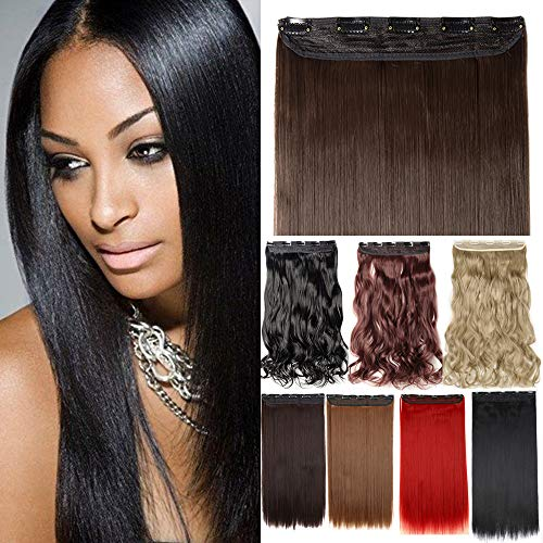 One Piece Clip in Hair Extensions 17 23 24 26 27 30 inch Long 125G Thick Straight Curly Wavy with 5 Clips Real Natural Synthetic Fibre Hairpiece Hair Extension for women(23