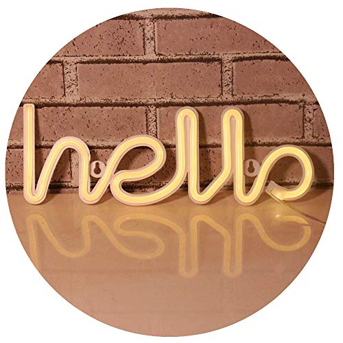 Pooqla Marquee Hello Word Neon Sign, LED Neon Light Sign for Party Supplies Girls Room Decoration Accessory for Summer Party Table Decoration Children Kids Gifts (Hello)