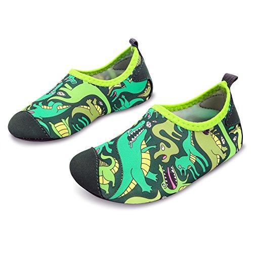 L-RUN Boys & Girls Water Shoes Lightweight Aqua Sock Green 8-8.5=EU 24-25 by L-RUN