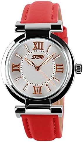 SKMEI 9075 Japanese-quartz Pointer Display 30M Waterproof Multi-function Sports Leather Wonen Watch
