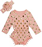 Messy Code Baby Romper Onesies Girls Clothes Gold Dot Jumpsuits Headband Outfit Long Sleeve,Peach/Gold,X-Small / 3-6Month