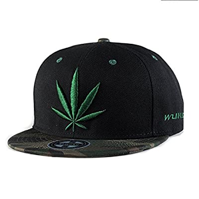 King Star Men Women Leaf Weed Snapback Cannabis Embroidered Flat Bill Baseball Cap Hat Green